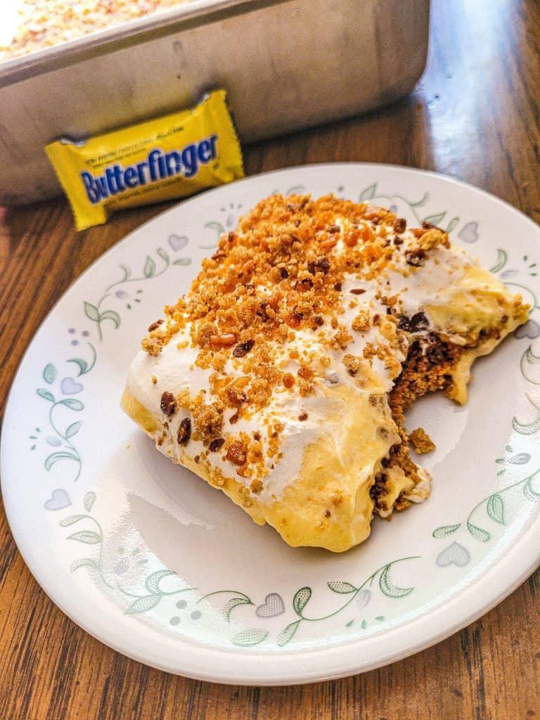 Butterfinger Dessert with Ice Cream