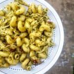 pesto chicken pasta on a plate