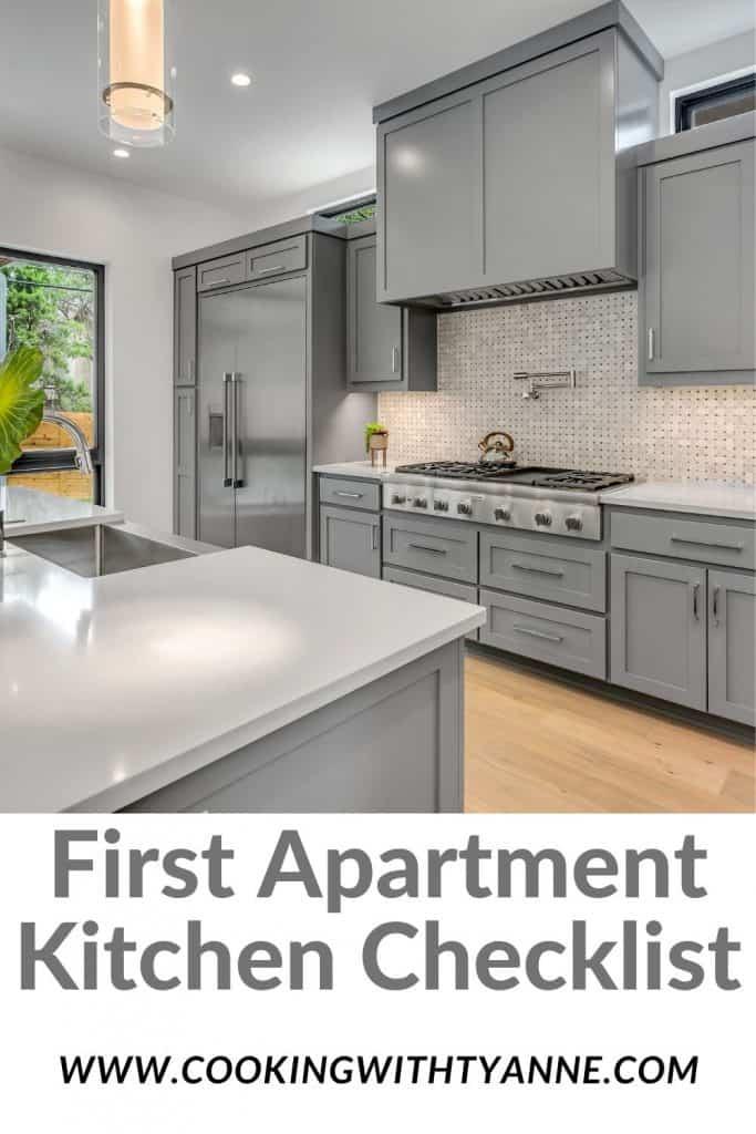 First Apartment Kitchen Checklist Pin